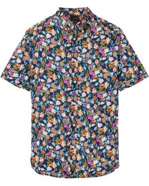 Рубашка с короткими рукавами с принтом синий Bonprix