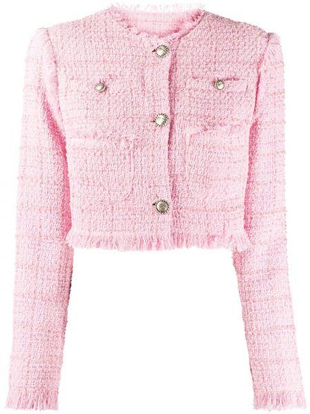 Розовая куртка твидовая на пуговицах узкого кроя Brognano