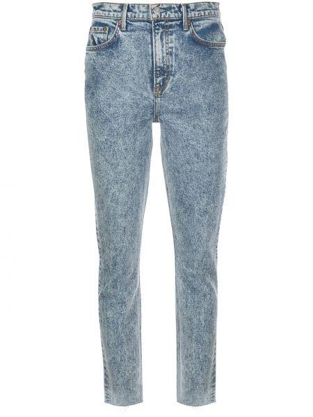 Niebieskie jeansy z wysokim stanem skorzane Grlfrnd