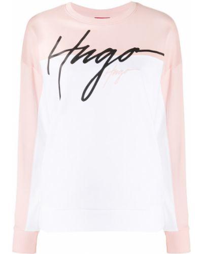 Хлопковый прямой розовый джемпер с вырезом Boss Hugo Boss