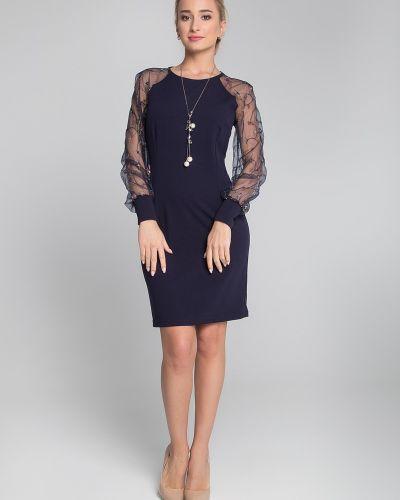 Приталенное платье-футляр прозрачное на торжество с манжетами Sezoni