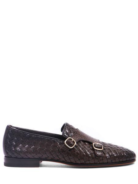 Классические туфли из крокодила с пряжкой на каблуке Santoni