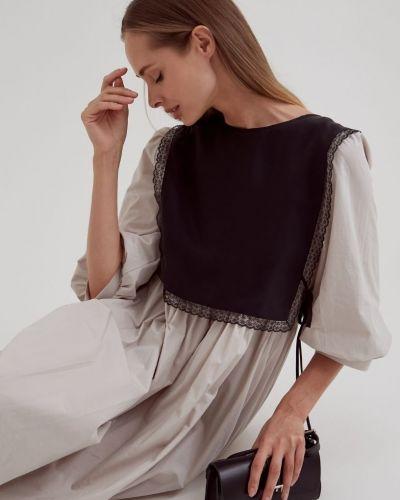 Кружевной черный шерстяной шарф черешня