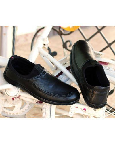 Мокасины на шнуровке - черные Etor