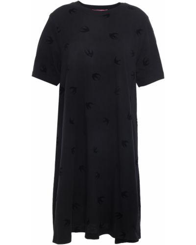 Трикотажное черное платье мини с воротником Mcq Alexander Mcqueen