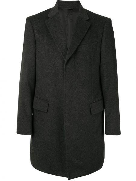 С рукавами кашемировое серое длинное пальто с карманами D'urban