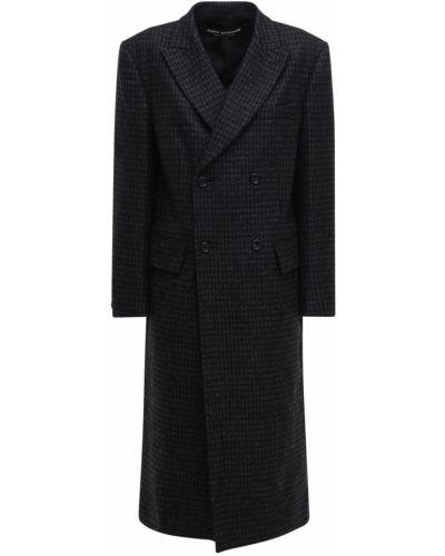 Шерстяное черное пальто двубортное Junya Watanabe