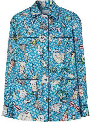 Шелковая рубашка - синяя Burberry