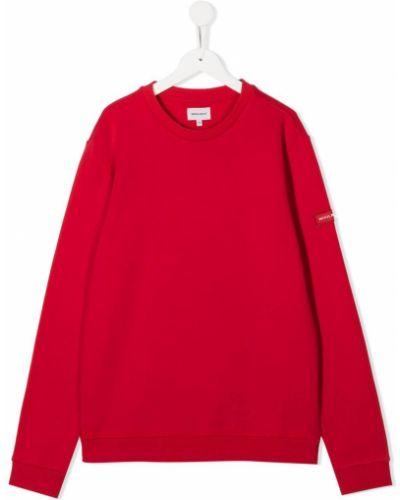 Прямой с рукавами хлопковый красный свитшот Woolrich Kids