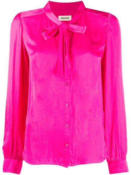 С рукавами розовая блузка с воротником Zadig&voltaire