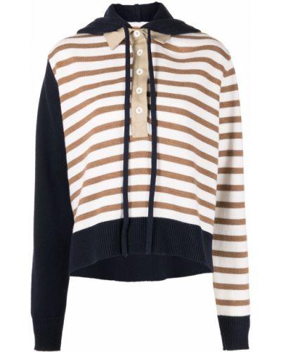 Bluza z kapturem z długimi rękawami w paski Monse