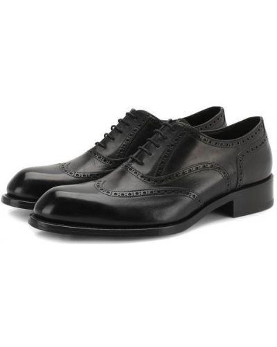 Кожаные туфли черные Brioni