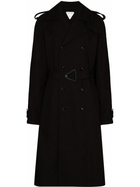 Czarny długi płaszcz bawełniany z długimi rękawami Bottega Veneta