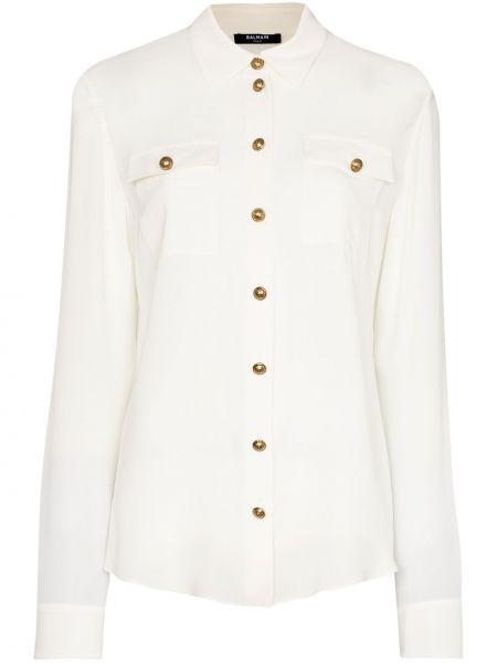Шелковая белая классическая рубашка с воротником Balmain