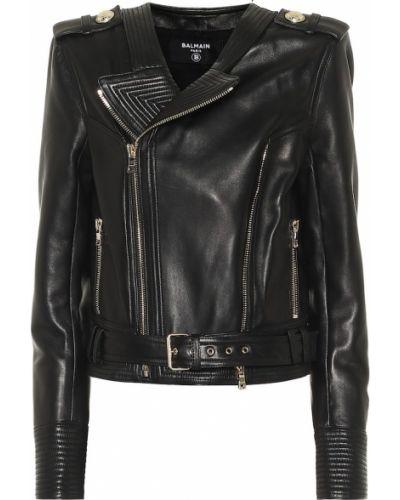 Черная кожаная куртка байкерская из натуральной кожи Balmain