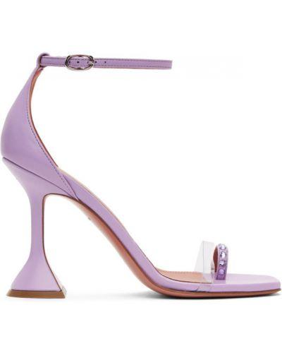 Różowy otwarty sandały z klamrą z prawdziwej skóry Amina Muaddi