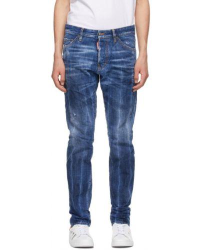 Синие джинсы стрейч с заплатками Dsquared2
