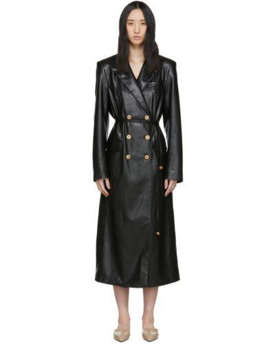 Длинное пальто без воротника на кнопках Nanushka