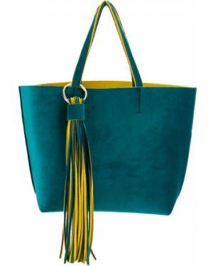 Бархатная желтая сумка-тоут с бахромой Alila