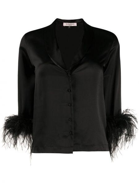 Шелковая черная рубашка с жемчугом на пуговицах Gilda & Pearl