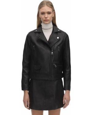 Кожаная куртка с манжетами с подкладкой байкерская Karl Lagerfeld