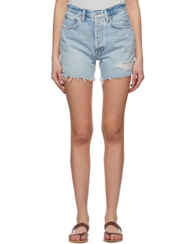Хлопковые джинсовые шорты с карманами с манжетами Agolde
