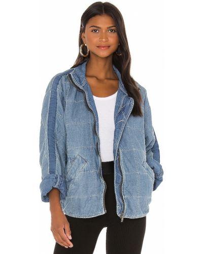 Джинсовая куртка на молнии - синяя Free People
