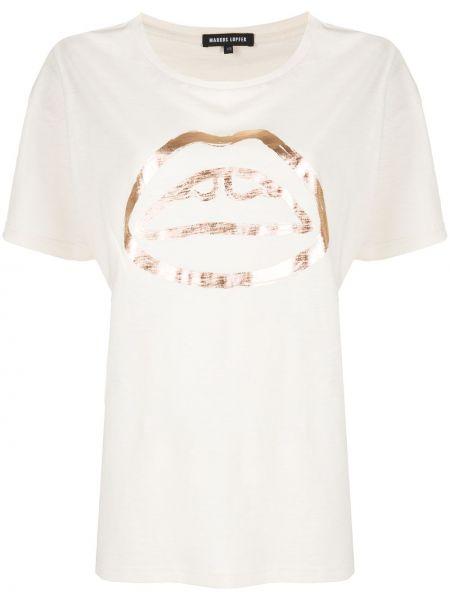 Хлопковая прямая футболка с круглым вырезом круглая Markus Lupfer