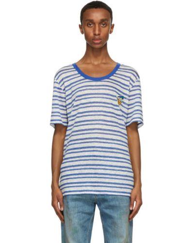 Niebieski koszula krótkie rękawy z haftem z kołnierzem Gucci