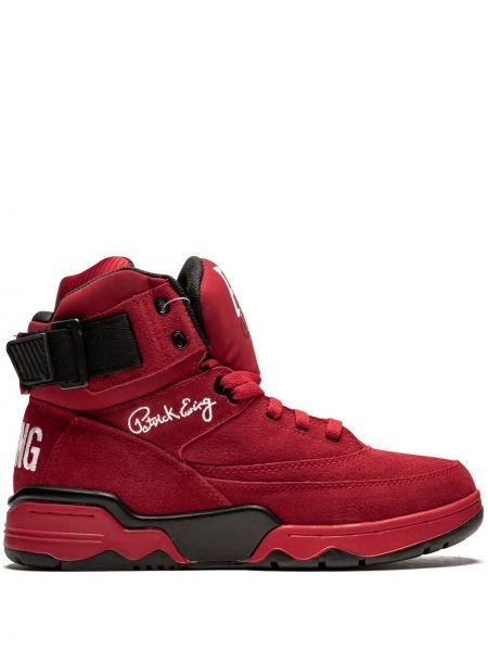 Красные высокие кроссовки на каблуке Ewing