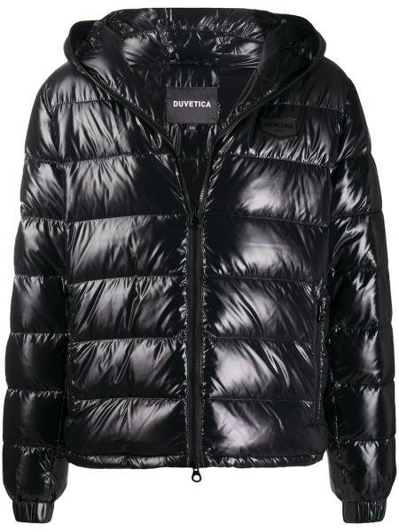 Классическая черная куртка с капюшоном с вышивкой с манжетами Duvetica