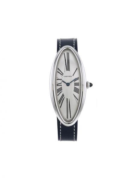Czarny złoty zegarek na skórzanym pasku klamry Cartier