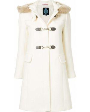 Шерстяное белое пальто с капюшоном Guild Prime