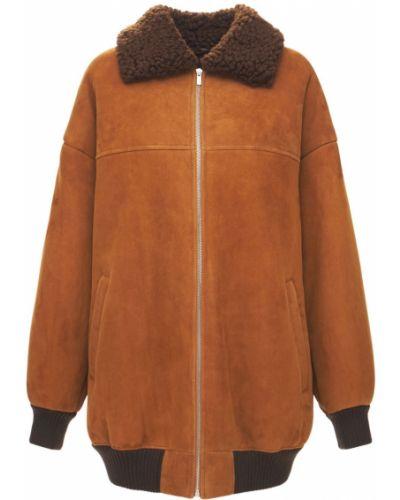 Кожаная куртка из верблюжьей шерсти Miu Miu