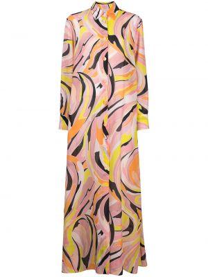 С рукавами розовое платье макси с воротником Emilio Pucci