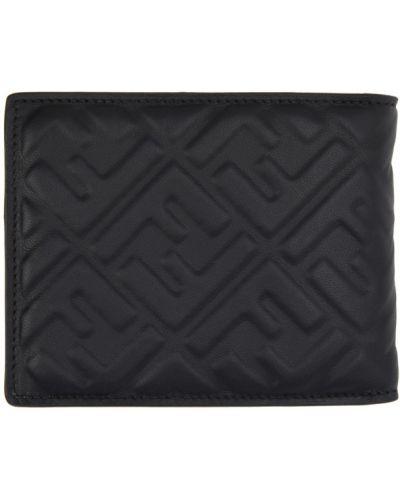 Черный кожаный кошелек для монет с тиснением Fendi