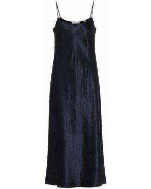 Платье атласное - синее Vince.