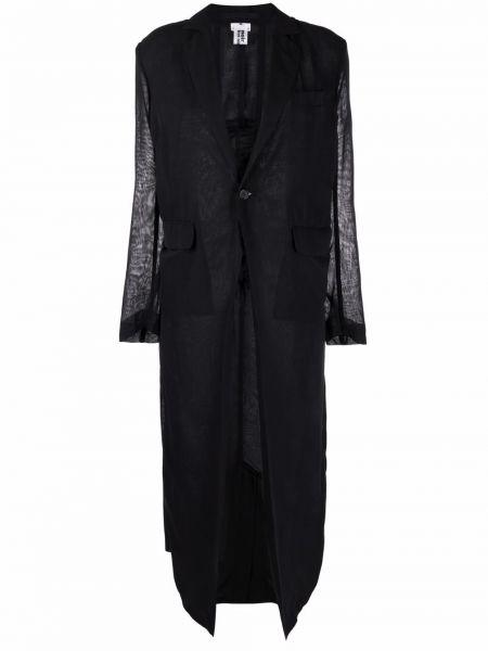 Однобортное черное длинное пальто с карманами Comme Des Garçons Noir Kei Ninomiya