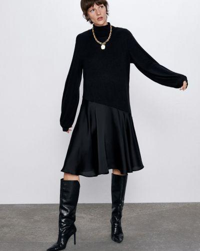 Платье с длинными рукавами - черное Zara