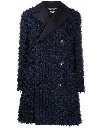 Синее длинное пальто двубортное на пуговицах Junya Watanabe