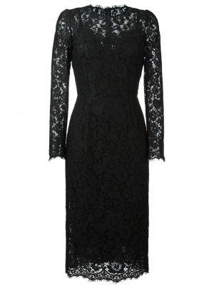 Приталенное ажурное кожаное платье с вырезом Dolce & Gabbana