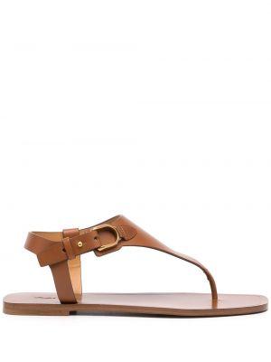Brązowe sandały płaskie bez obcasa Ralph Lauren Collection
