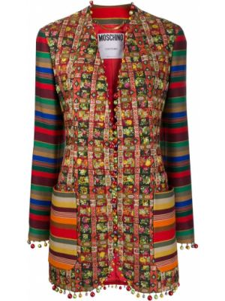 Шерстяная куртка пэчворк с подкладкой узкого кроя Moschino Pre-owned