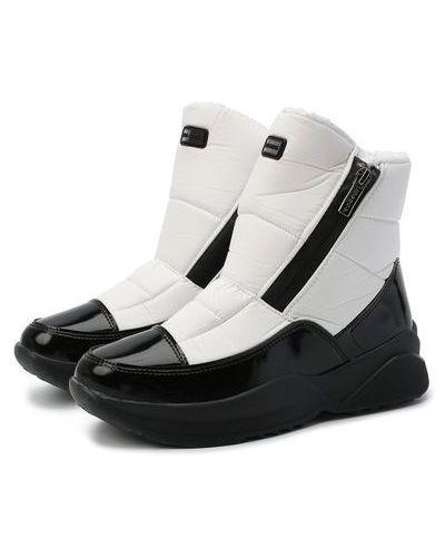 Лаковые кожаные белые ботинки Jog Dog