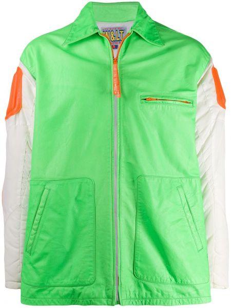 Зеленый классический пиджак на молнии свободного кроя с карманами Walter Van Beirendonck Pre-owned