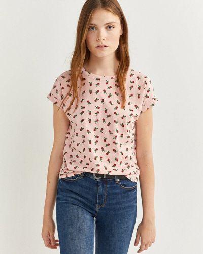 Розовая с рукавами футболка Springfield