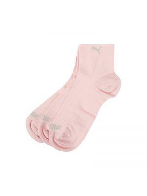 Prążkowane różowe skarpety bawełniane Puma