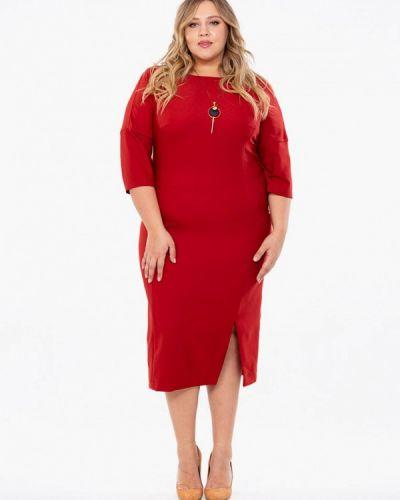 Повседневное платье осеннее красный Intikoma