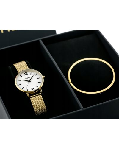 Złoty zegarek kwarcowy - czarny Pacific
