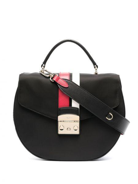 Кожаная черная сумка на плечо Metropolis в полоску Furla